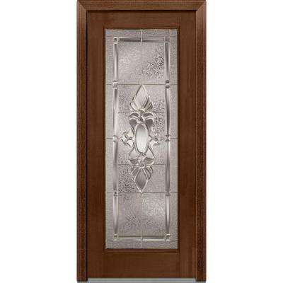 32 in. x 80 in. Heirloom Master Right-Hand Inswing Full Lite Decorative Stained Fiberglass Mahogany Prehung Front Door