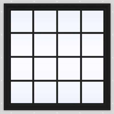 48 in. x 48 in. V-2500 Series Bronze FiniShield Vinyl Fixed Picture Window with Colonial Grids/Grilles