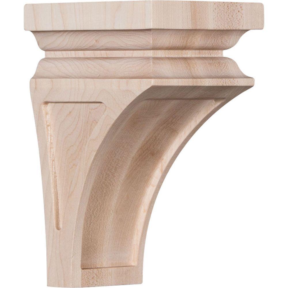 3-1/2 in. x 6 in. x 3-3/4 in. Rubberwood Mini Nevio Wood Corbel