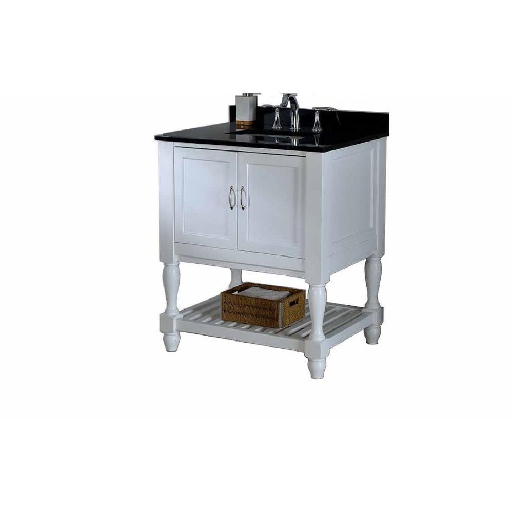 Direct Turnleg Spa Vanity White Granite Vanity Top Black White Basin Image