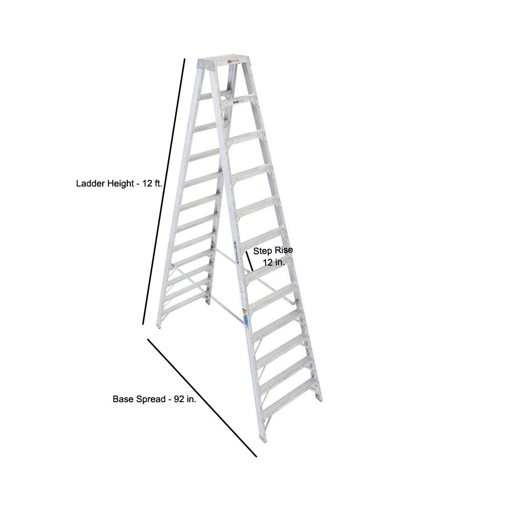 Werner 12 Ft Aluminum Twin Step Ladder With 375 Lb Load Capacity Type Iaa Duty Rating T412 The Home Depot