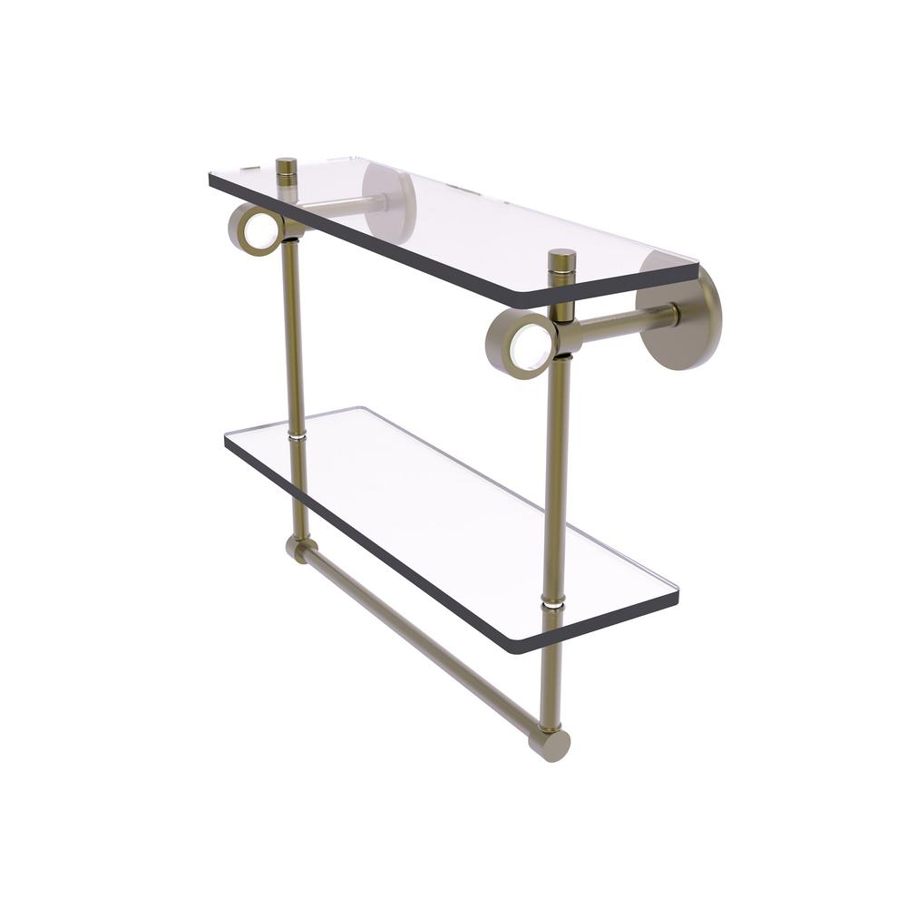 Allied Brass WS-2TB//16 Washington Square Collection 16 Inch Two Tiered Integrated Towel Bar Glass Shelf Matte Gray