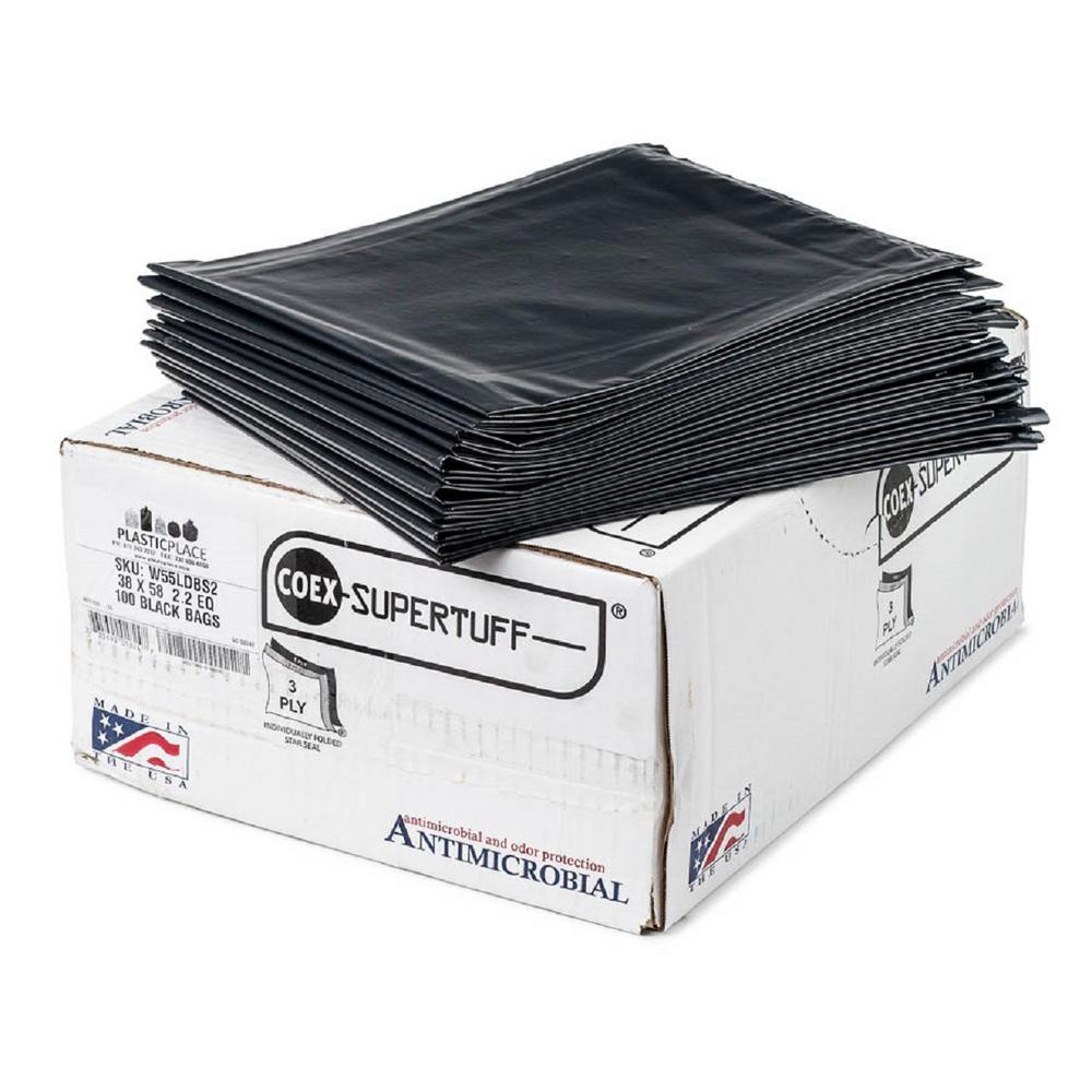 Plasticplace 55 Gal Black Eco Friendly Trash Bags Case Of 100