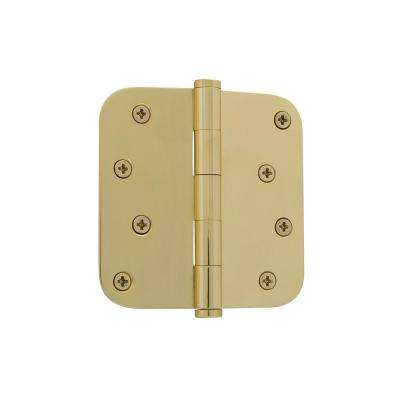 4 in. Button Tip Residential Hinge with 5/8 in. Radius Corners in Polished Brass