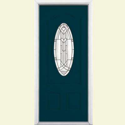 36 in. x 80 in. Chatham 3/4 Oval Night Tide Left Hand Inswing Painted Smooth Fiberglass Prehung Front Door w/ Brickmold