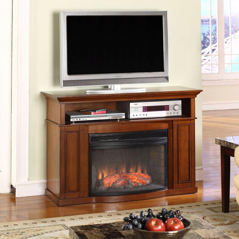 Muskoka Sheppard 46 in. Media Console Electric Fireplace in Burnished Pecan-DISCONTINUED