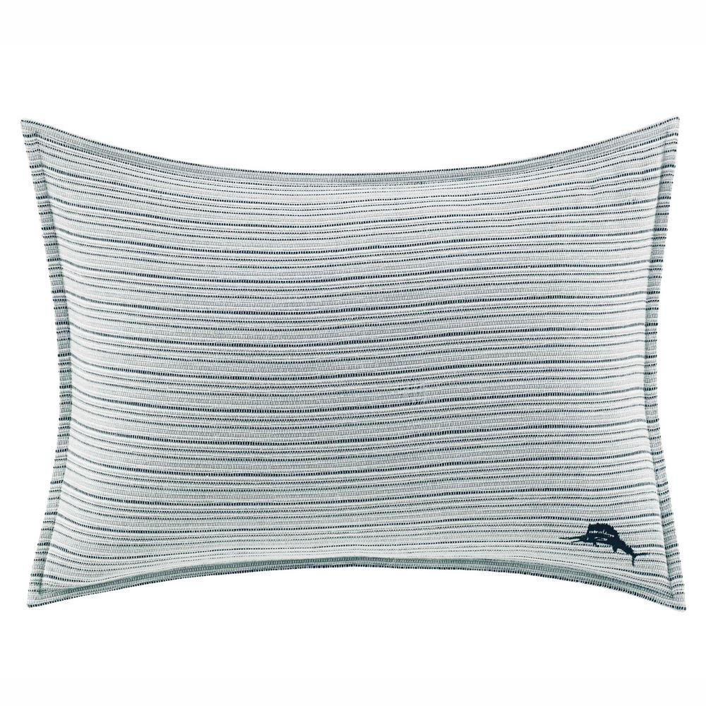 Raw Coast Blue Woven 16 in. x 20 in. Throw Pillow Bring new life to your bedding set with the Tommy Bahama Raw Coast Throw Pillow. With its beautiful blue and ivory yarn-dyed textured woven texture and an embroidered marlin detail, it adds an authentic signature touch to your bedroom decor. Dimensions: (16 in. x 20 in.).