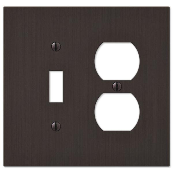 Barnard 2 Gang 1-Toggle and 1-Duplex Metal Wall Plate - Aged Bronze