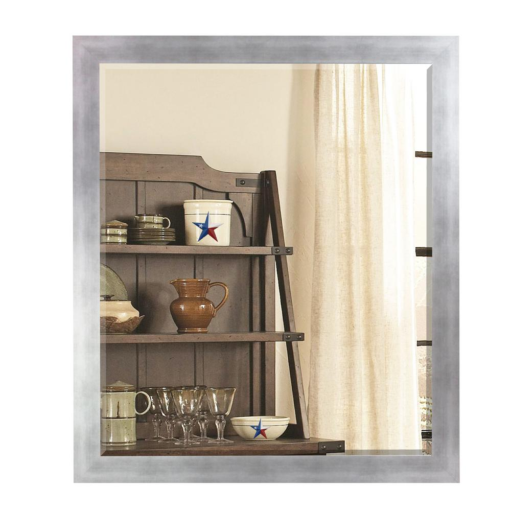 35.5 in. x 35.5 in. Taciturn Silver Gunmetal Square Beveled Mirror