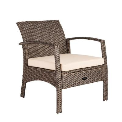 Bondi Mocha Stationary Wicker Outdoor Lounge Chair with Taupe Cushion