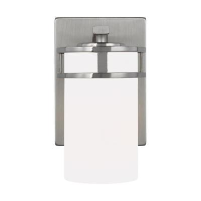 Robie 5 in. 1-Light Brushed Nickel Vanity Light with Etched/White Inside Glass Shades