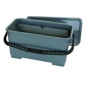 Carlisle 18 inch Rectangular Microfiber Pad and Squeegee Bucket in Gray (3-Pack) by Carlisle