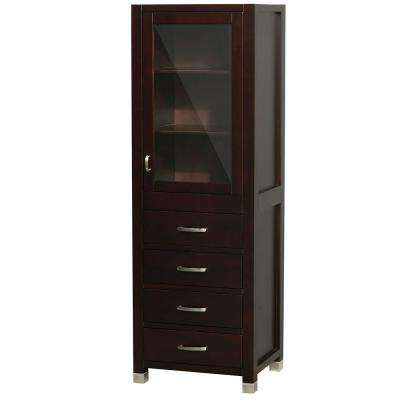 Shaina 24 in. W x 71 in. H x 17 in. D Bathroom Linen Storage Cabinet in Espresso