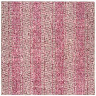 Courtyard Light Gray/Fuchsia 6 ft. 7 in. x 6 ft. 7 in. Indoor/Outdoor Square Area Rug