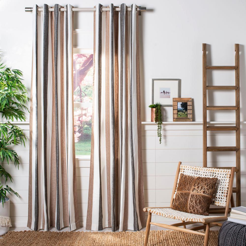 Larri 52 in. W x 84 in. L Window Panel in Brown/Beige/Dark Grey