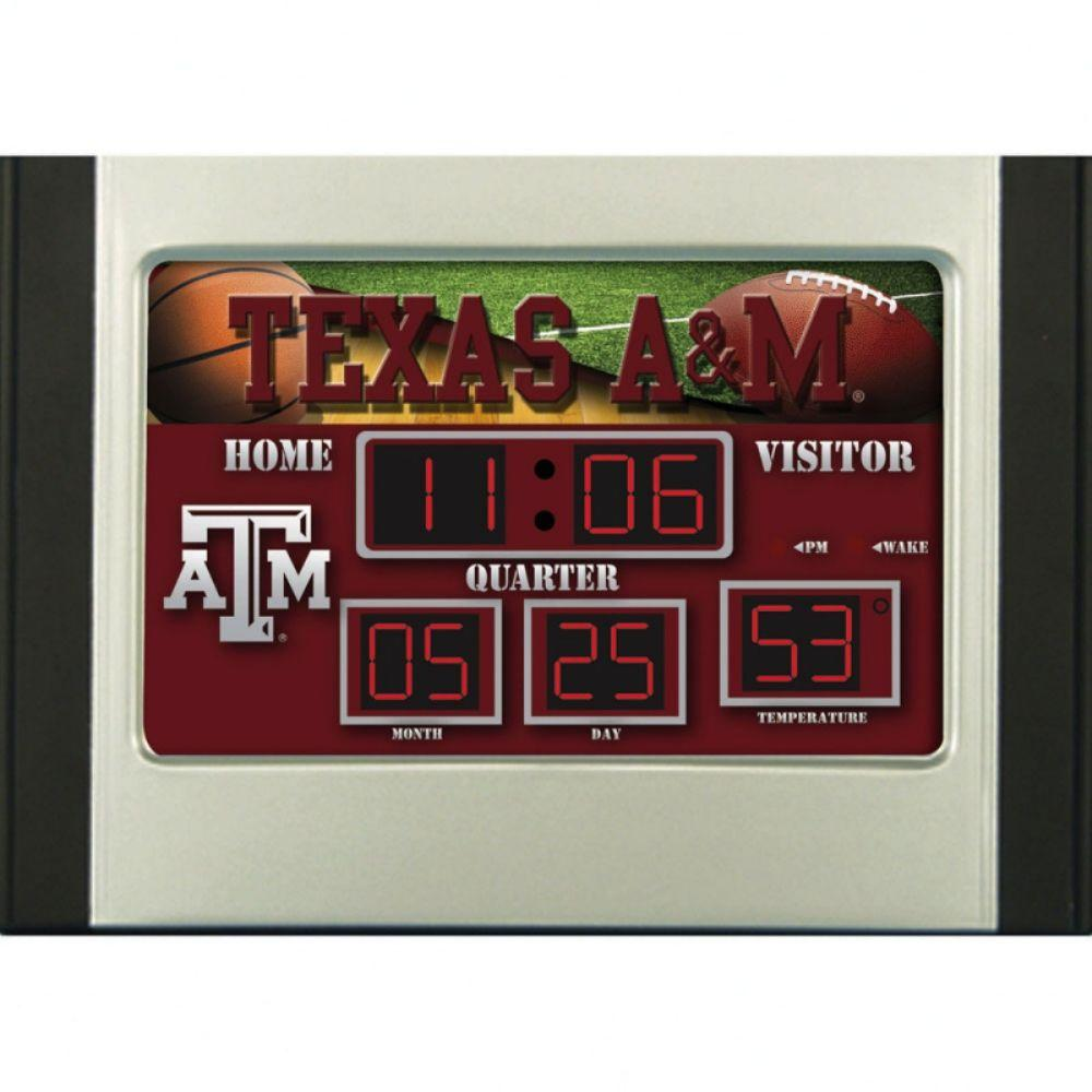 null Texas A&M University 6.5 in. x 9 in. Scoreboard Alarm Clock with Temperature