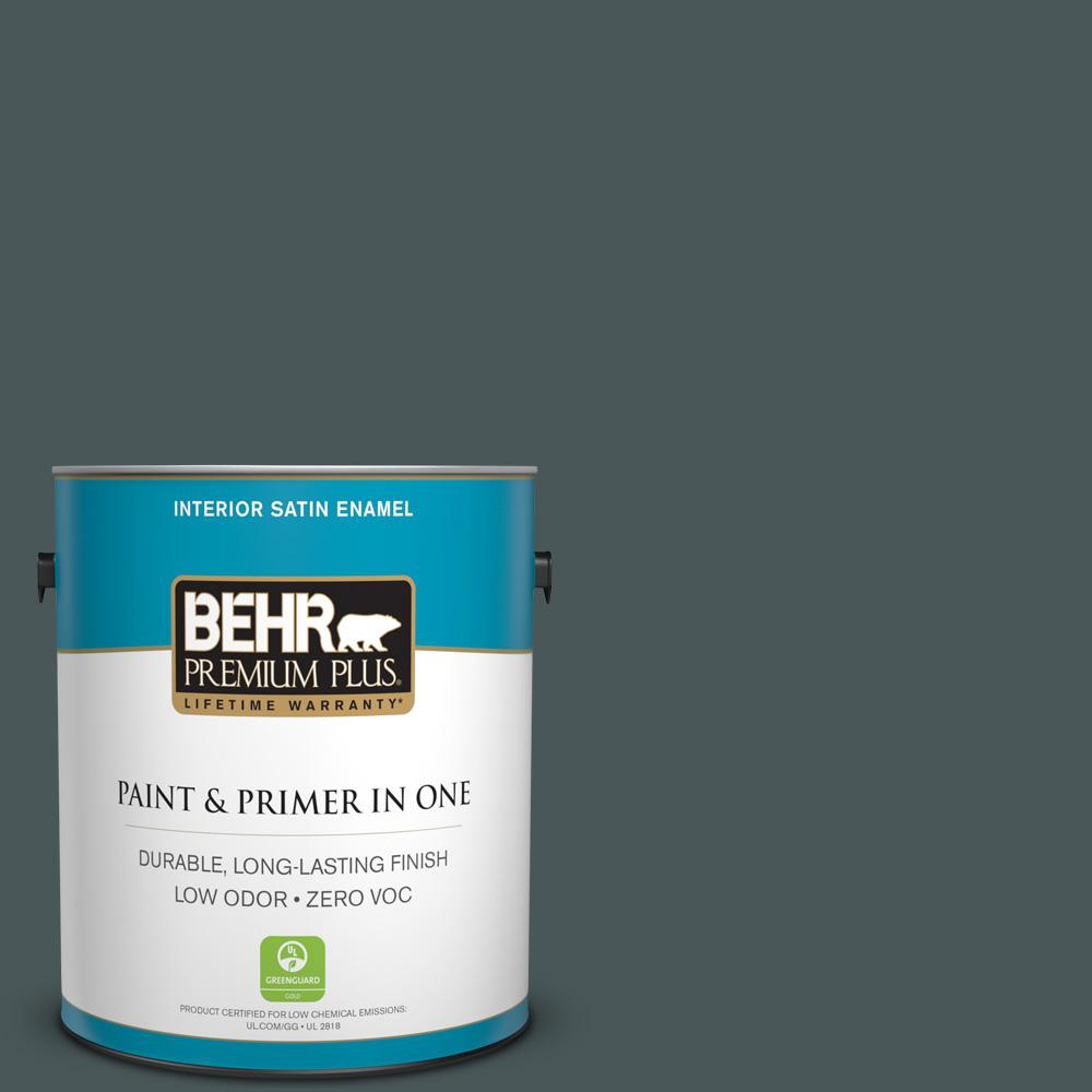 1-gal. #N440-7 Midnight in NY Satin Enamel Interior Paint