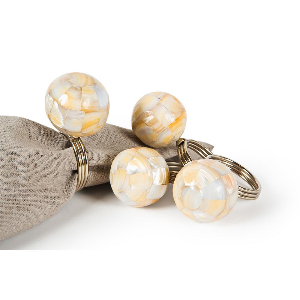 2 in. x 1.5 in. Multi-Color Mother of Pearl Elegant Ball Metal Napkin Rings (Set of 4)