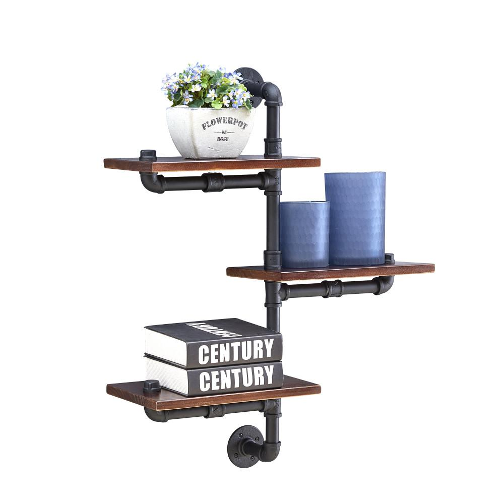Danya B 3 Shelf 24 In X 8 In Floating Staggered Industrial Rustic Pipe Wall Mount Shelving Unit