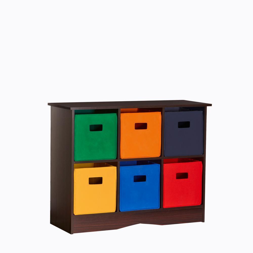 32 in. W x 25 in. H 6-Bin Primary Storage Cabinet in Espresso