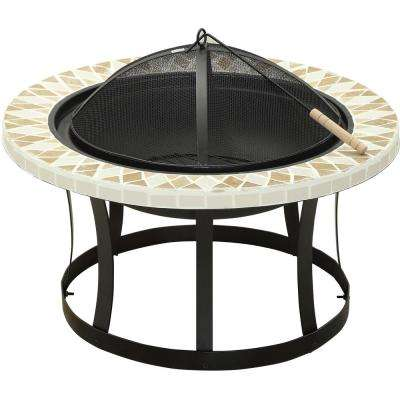 Ardoch 30 in. Cast Iron Fire Pit with Triangle Tile Detailing