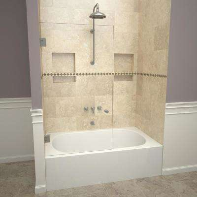 2000V Series 78 in. W x 60 in. H Frameless Pivot Tub Door in Brushed Nickel with Back-to-Back Knob and Clear Glass