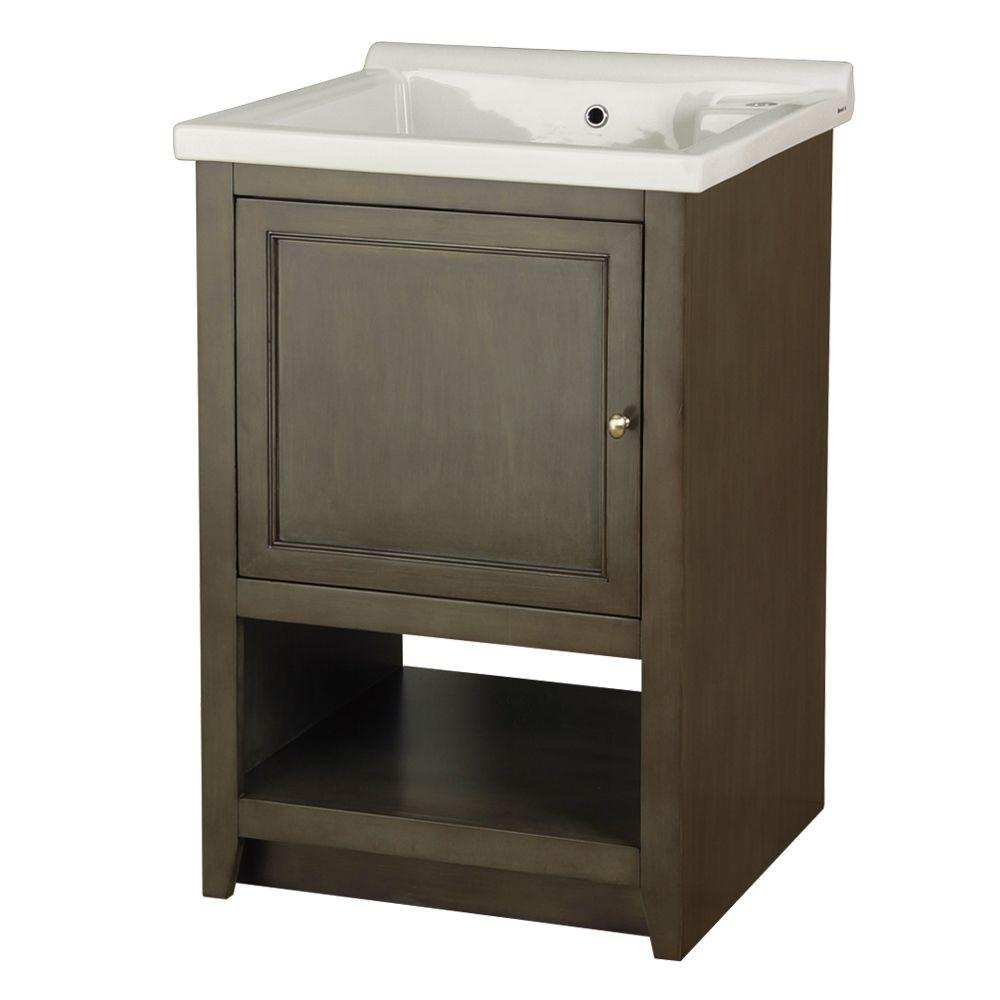 Foremost Westmount Laundry Cabinet in Loden Green and Vitreous China Sink in White-DISCONTINUED