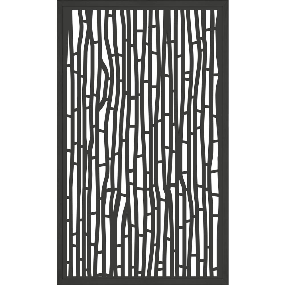 Modinex 5 ft. x 3 ft. Framed Charcoal Gray Decorative Composite Fence Panel featured in The Bali Design