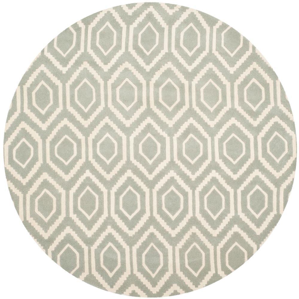 Grey Ivory 7 Ft X Round Area Rug