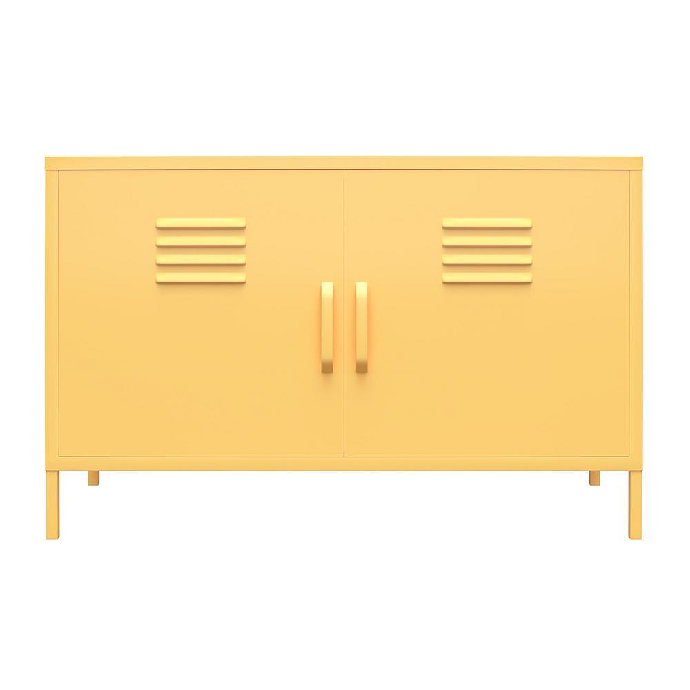 Cache Yellow 2-Door Metal Locker Accent Cabinet