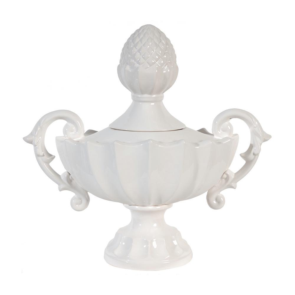 Nera Porcelain Decorative Handled Jar - White - Medium