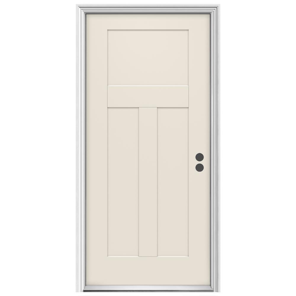 amazing flush exterior door #4: 36 in. x 80 in. 3-Panel Craftsman Primed Left-Hand Inswing