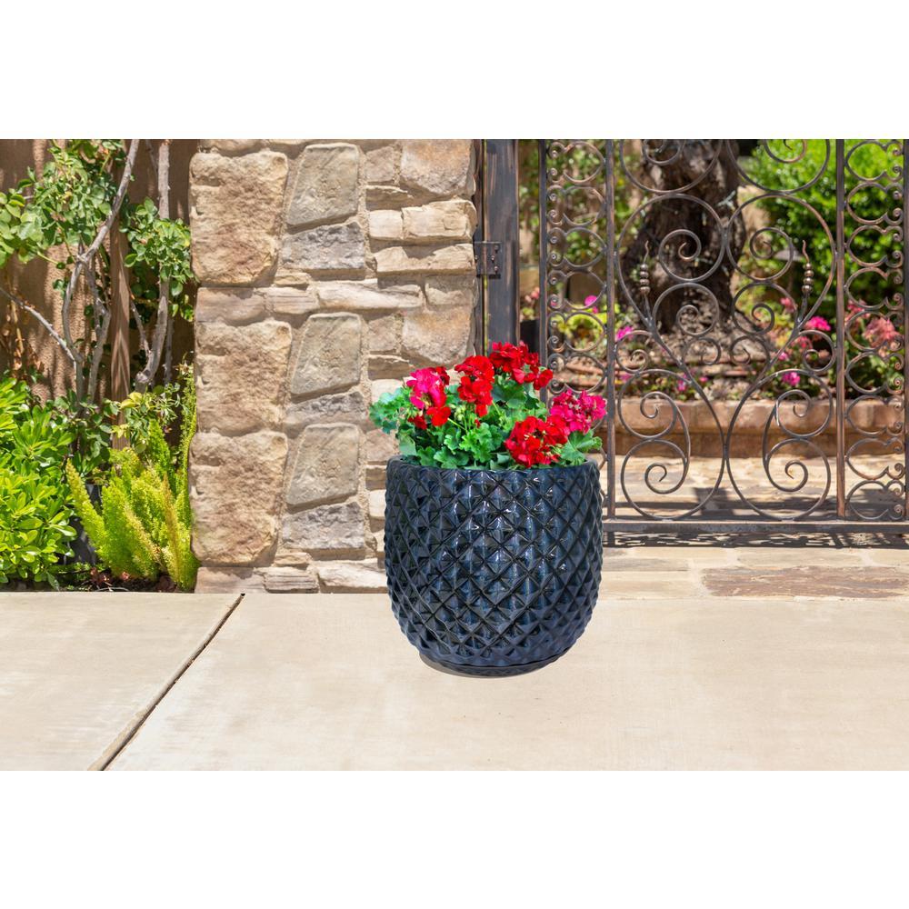 12 in. Blue Pinequilt Ceramic Planter