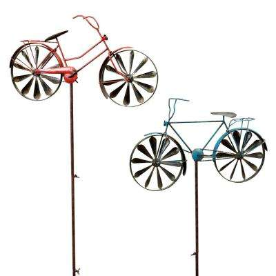 63 in. Tall Antique-Style Metal Bicycle Wind Spinner Yard Stakes (2-Set)