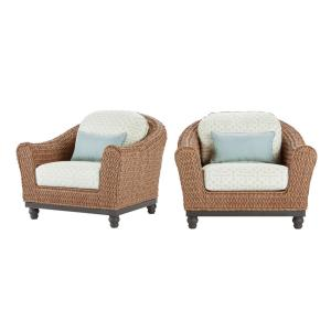 Camden Light Brown Wicker Outdoor Lounge Chair with Sunbrella Fretwork Mist Cushions (2-Pack)