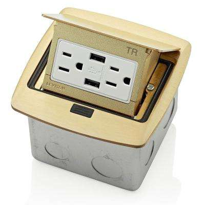Pop-Up Floor Box with Dual Type A, 3.6 Amp USB Charger, 15 Amp Outlet, Brass