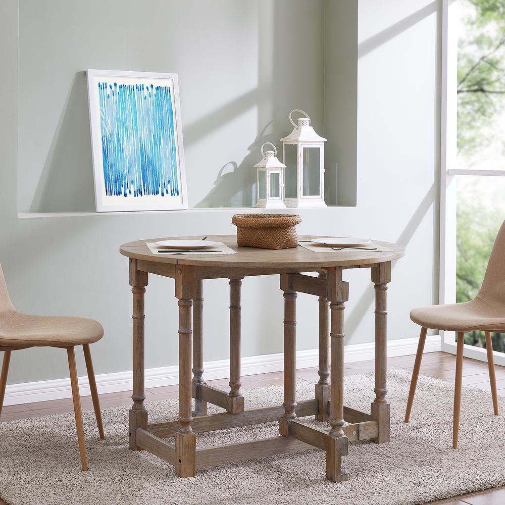 Challa 1-Piece Burnt Oak Drop-Leaf Dining Table