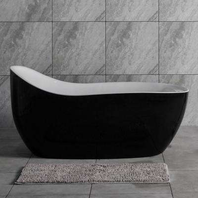 Modena 67 in. Acrylic Freestanding Single Slipper Air Bath Bathtub with Drain and Overflow Included in Black