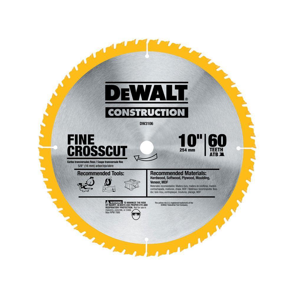 Dewalt Series 20 10 In 60t Fine Finish Saw Blade Dw3106