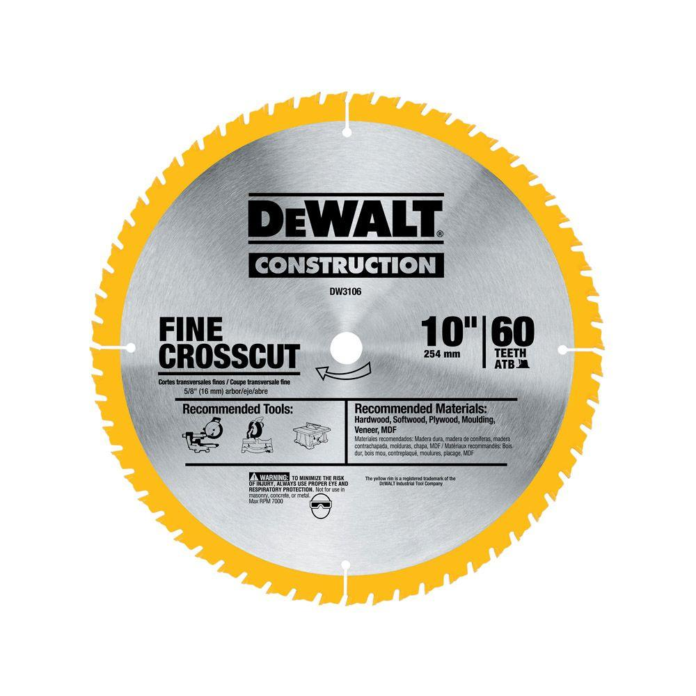 Dewalt 20 Series 10 In 60t Fine Finish Saw Blade Dw3106 The Home Depot