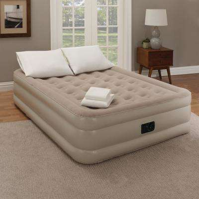 18 in. White Twin Bedding and Air Mattress Set