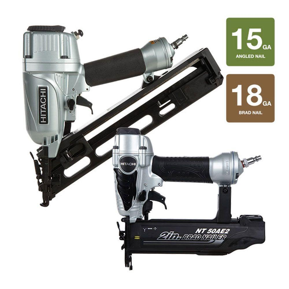 Hitachi 2.5 in. Angled Finish Nailer and 2 in. Finish Brad Nailer with Accessories (2-Piece)