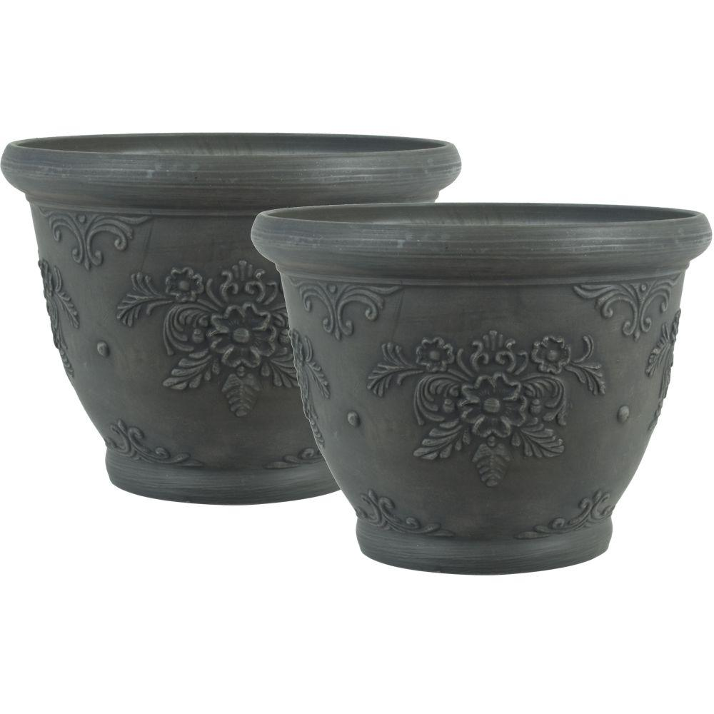 Pride Garden Products 12 in. Round Charcoal Floral Plastic Planter (2-Pack)