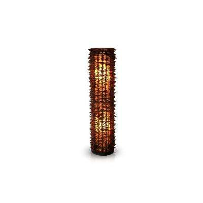 Harold 51 in. Dark Brown Decorative Floor Lamp with Natural Rattan Fringe