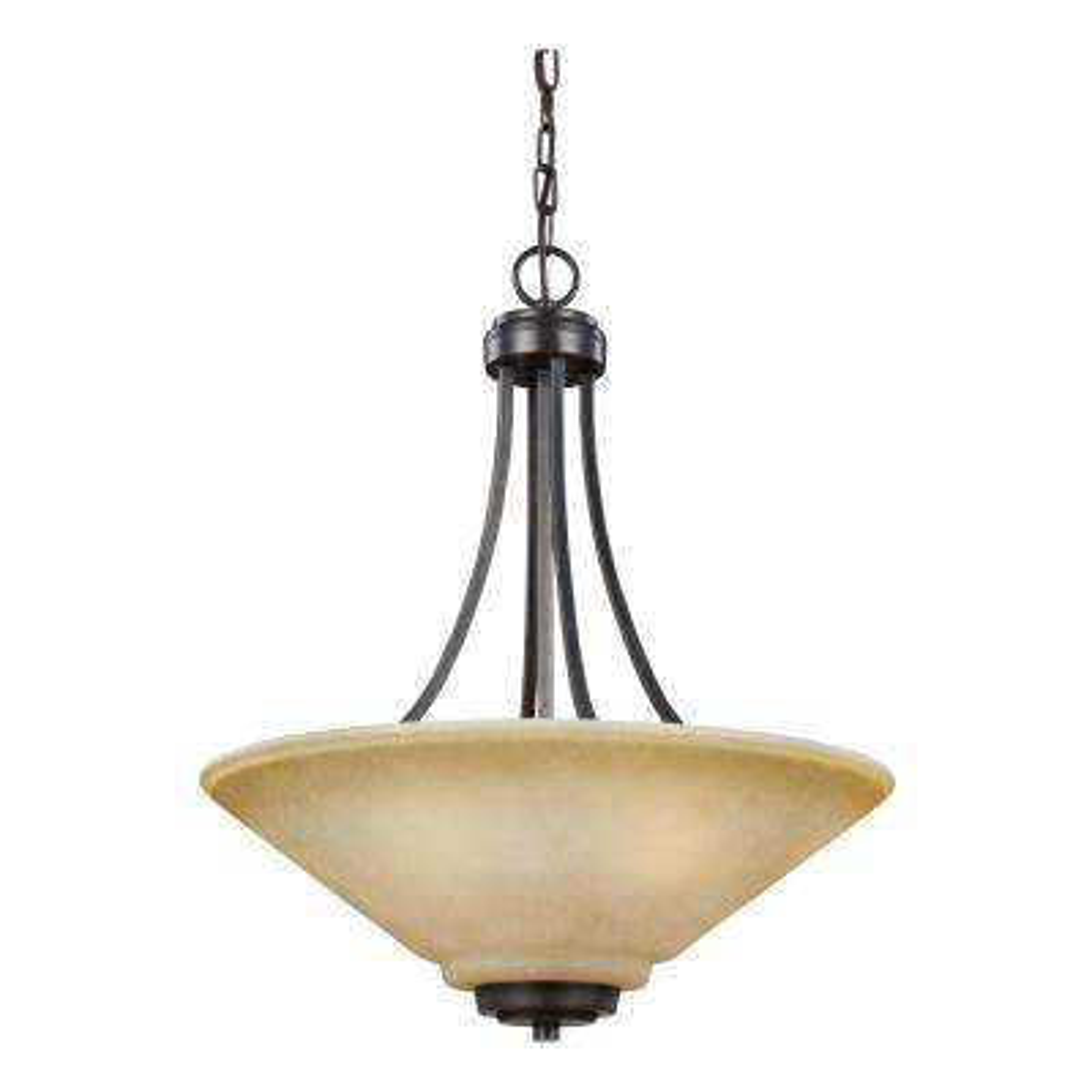 Parkfield 3-Light Flemish Bronze Pendant with LED Bulbs