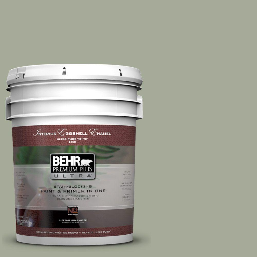 behr premium plus ultra 5 gal ppu10 16 simply sage eggshell enamel interior paint and primer. Black Bedroom Furniture Sets. Home Design Ideas