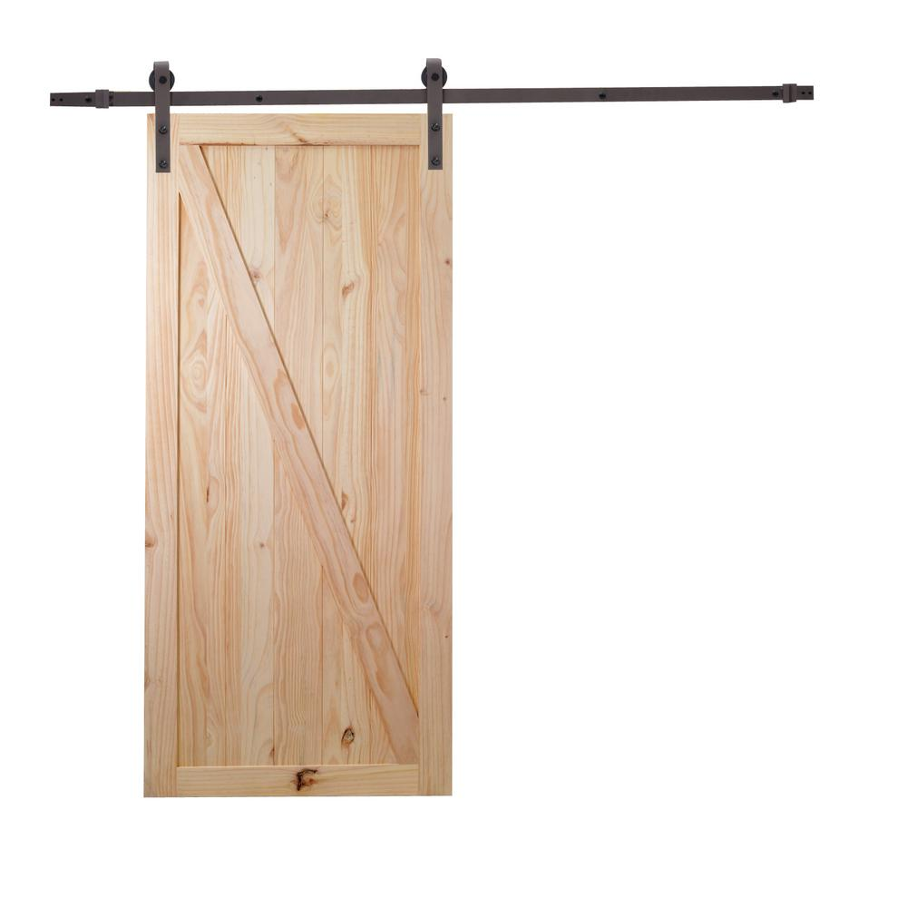 Ordinaire Z Bar Unfinished Natural Wood Sliding Barn Door