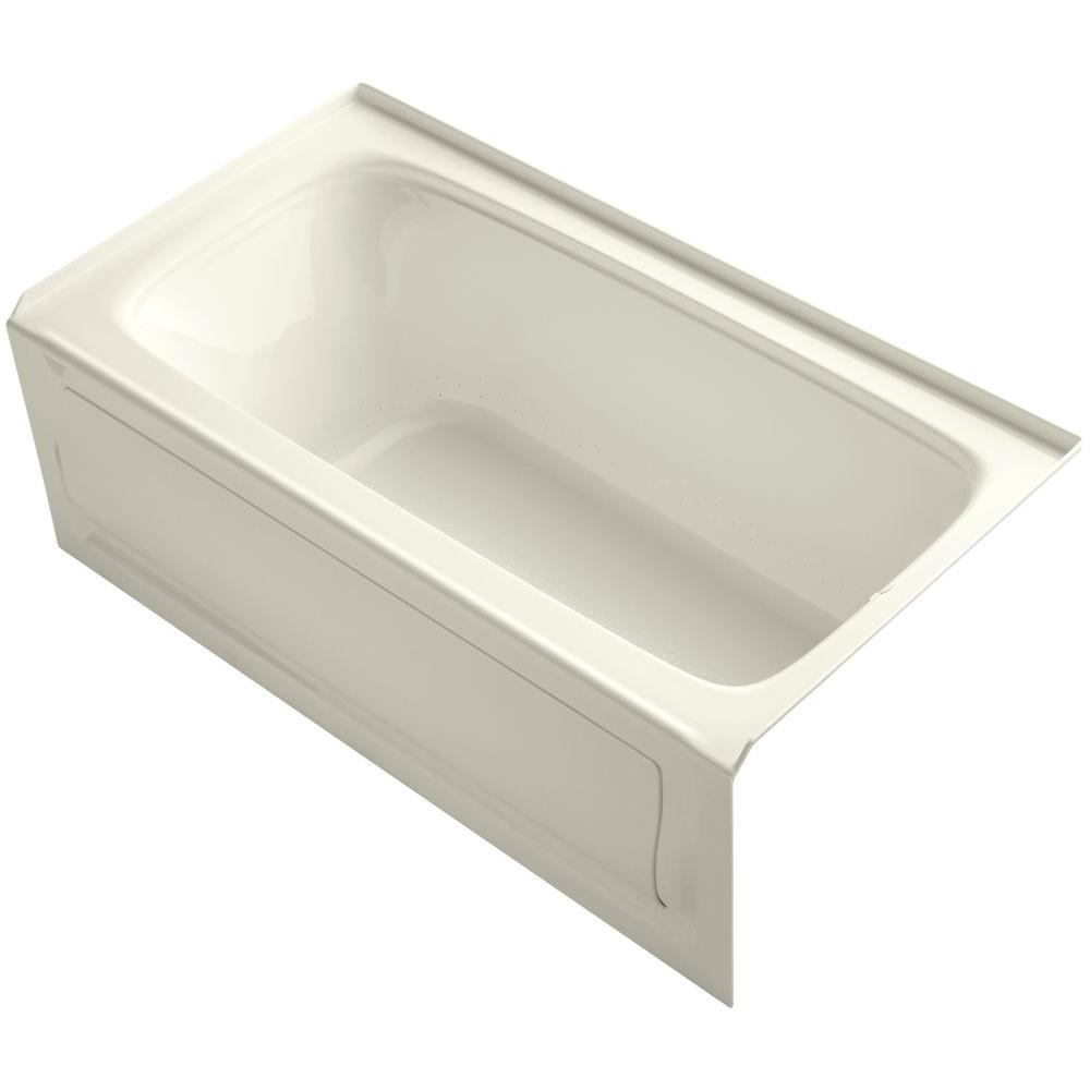 KOHLER Bancroft 5 ft. Acrylic Right Drain Rectangular Alcove Whirlpool Bathtub in Biscuit