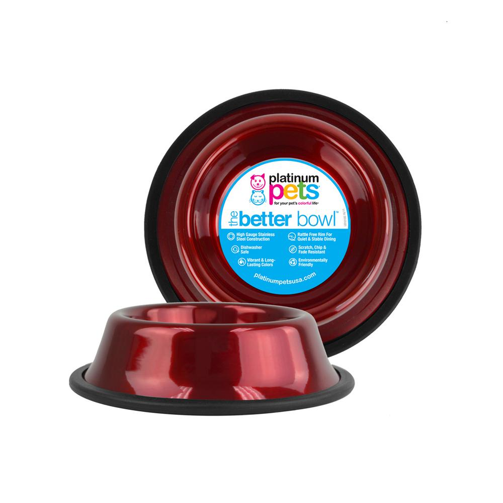 3.5 Cup Non-Tip Stainless Steel Dog Bowl, Candy Apple Red