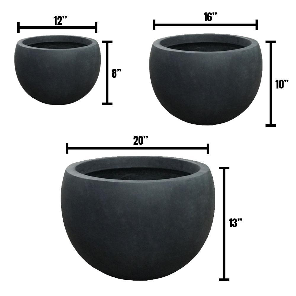 DurX-litecrete Lightweight Concrete Bowl Planter (Set of 3)